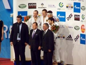 Siegerehrung 81kg JGP Ddorf 2012 (Schmitt, Bischof, Pietri, Mammadli)